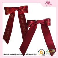 Hot Stamping Logo Elastic Ribbon Bows burgundy satin ribbon For Gift Package Manufactures