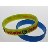 yellow silicone wristband with two ink filled Manufactures