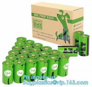 Biodegradable Green Dog Poop Bag Bulk  with Free Baggie Bone Dispener, HDPE+D2W/EPI/Cornstarch to make the bags Biodegra Manufactures