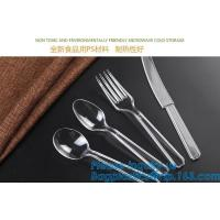 Disposable Flatware Set-Heavyweight Plastic Cutlery 100 Forks, 100 Spoons, 100 Knives,PP Disposable Plastic Cutlery ps Manufactures