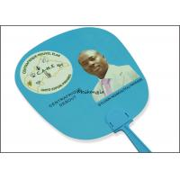 China Gift Use Plastic Hand Held Fans UV Offset Printing Optional Pantone Color on sale