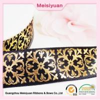 China Gift Package hot foil ribbon With Printed Flower Pattern , christmas present ribbon Black Satin Ribbon wholesale