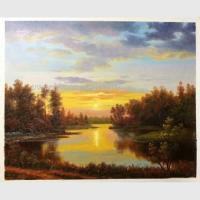 China Classical Nature Oil Painting Landscape Sunset Landscape Painting With Stream on sale