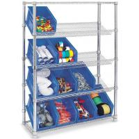 China Indoor Commercial Wire Shelving / Clear Plastic Storage Bin Slanted Chrome Wire Shelving Systems on sale