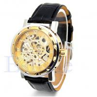 Stainless Steel Case Men Leather Strap Watches  ,  Gold Watch With Leather Band Manufactures