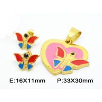 China Post Stud Fantasy Butterfly Costume Jewelry Sets In Colorful Enamel on sale