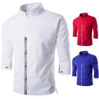 China Cotton Linen Half Sleeve Mens Reflective Jacket Half Zip Elastic Buttom on sale