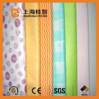 Absorbent Chemical Bond Non Woven Cleaning Cloth Blue Wave Line Square Pattern Manufactures