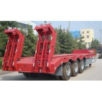 China Red Three Axle Low Bed Trailer Truck Using For Transporting Machinery on sale
