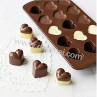 China High Quality 15 Cavities Heart Shape Silicone Chocolate Mold Mini Candy Mold on sale