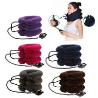 China Comfortable Heated Neck Massager Inflatable Collar Suede Material For Neck Pain Relief on sale