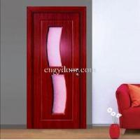 Single Glass Two Panels PVC Laminated Interior Wood Door (GY-KG33) Manufactures