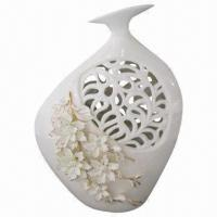 China Ceramic Vase, Folk Style, with Hand Made Golden Flowers and Stone on sale