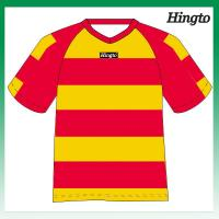 Quality Red and Yellow Striped Soccer Jerseys Youth Football Team Uniforms for sale
