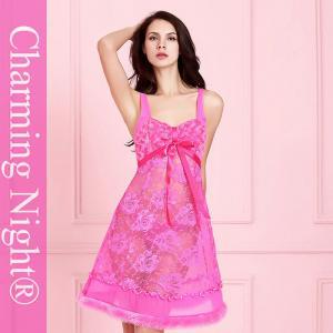 China Fur Skirt Lace Rose Mature Women Sexy Sleep Wear Transparent Night Gown Dress on sale
