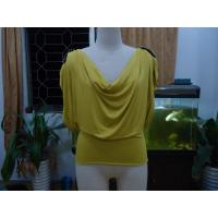 Cosy Mustard Womens Fashion Tops Plus Size Drape Neck Tops With Sleeves Manufactures