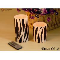 China Zebra Striped Flameless Wax Candles Yellow Light LED Color With Remote Control on sale