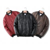 China Breathable Winter mens classic leather jackets Floral Patterned Fully Lined on sale
