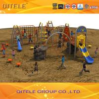 Playground Kids Outdoor Gym Equipment , Rope Net Playground Yellow For Residential zones Manufactures