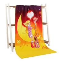 China Personized moonlight printed velvet beach towels for the sweet lover on sale