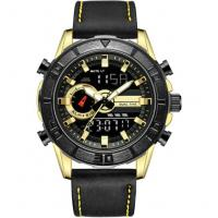 leaather strap digital analog mens dual time zone watches sport watches Manufactures