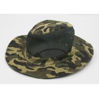 Cotton Mesh Camo Fishing Bucket Hats For Men , Customized Label Manufactures