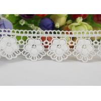 Water Soluble Chemical Polyester lace ribbon trim For Gilr Dress Vintage Off White Manufactures