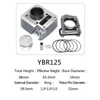 YBR125 for motorcycle cylinder kit with piston, piston ring,gasket, clip, pin Manufactures