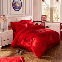 Red Bridal Polyester Bed Sheet Cover Sets With Embroidery Flower Queen Size Manufactures