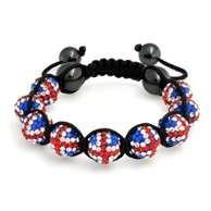 China Crystal shamball bead flag jewelry Shamballa Bead Bracelet flag for England NP10071 on sale