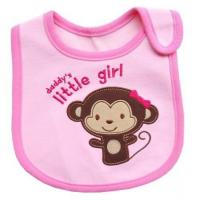 Pink Monkey Feeding Bibs For Babies / Personalized Baby Bibs for Baby Girl Manufactures