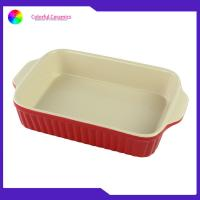 China Daily Usage Ceramic Baking Tray , Double Handles Rectangular Baking Plate Bake on sale