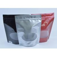 Tea / Coffee Beans Stand Up Aluminum Foil Packaging Bags With Clear Window Manufactures