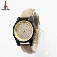 China Lady Genuine Leather Watch Lack Sandal Water Resistant Wood Face Watch on sale