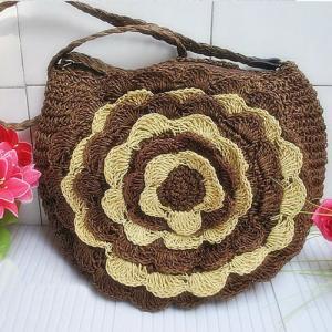 China 22303 flower straw bag, paper string bag, shoulder straw bag, crochet straw bag on sale