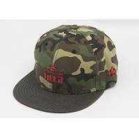 Quality Flat Brim Fitted Baseball Caps Embroidered , Camouflage Snapback Cap for sale