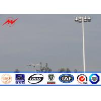 Quality 4 Sections 10mm 40M HDG High Mast Light Pole with 55 Lamps Wind Speed 30m/s for sale