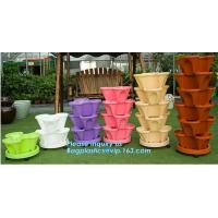 PP Plastic materials hydroponic vertical tower stackable plastic garden pots,vertical tower farming use stacking planter Manufactures