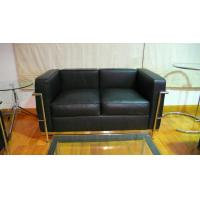 2 Seats LC2 Modern Classic Sofa Genuine Leather American Style Black Manufactures