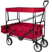 Folding Wagon Collapsible Utility Outdoor Garden Sports Beach Cart w/Canopy Blue Manufactures