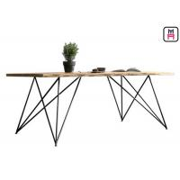 Base Solid Wood Commercial Restaurant Tables With Geometric Rose Gold Metal Frame Manufactures