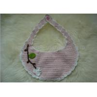 Handmade Crochet Baby Items / White Flowers Pink Knitted Baby Bibs With Leaves for sale