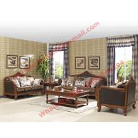 Quality European Country Style Classic Solid Wooden Sofa Made by Italy Leather and Fabric Sofa Set for sale