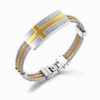Stainless Steel Three Rows Cable Bangle Bracelets Manufactures