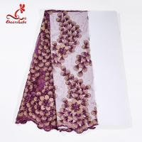 130CM Polyester Guipure Lace Fabric / African Beaded Flower Lace Embroidery Fabric For Clothing Manufactures