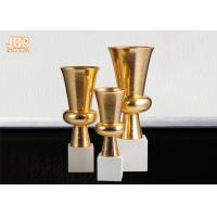 Trumpet Gold Leaf Fiberglass Planters With Frosted White Base Pot Planters Manufactures