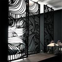 Foshan customized color stainless steel screen for living room wall panel, hollow metal laser cutting screen Manufactures