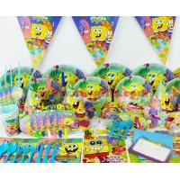 SpongeBob theme party set kids birthday party suppliers child Decoration evening party set celebration decoration for sale