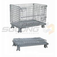 China Fully Collapsible Wire Container Storage Cages Industrial Metal Baskets on sale