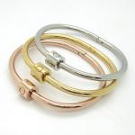 Wholesale jewelry screw clasp bracelet bangles, Titanium couple bracelet bangles Manufactures